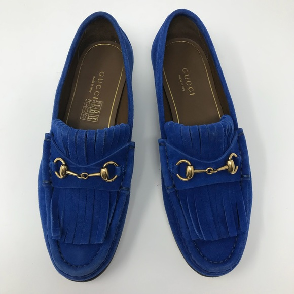 Gucci Shoes | Gucci Blue Suede Loafers
